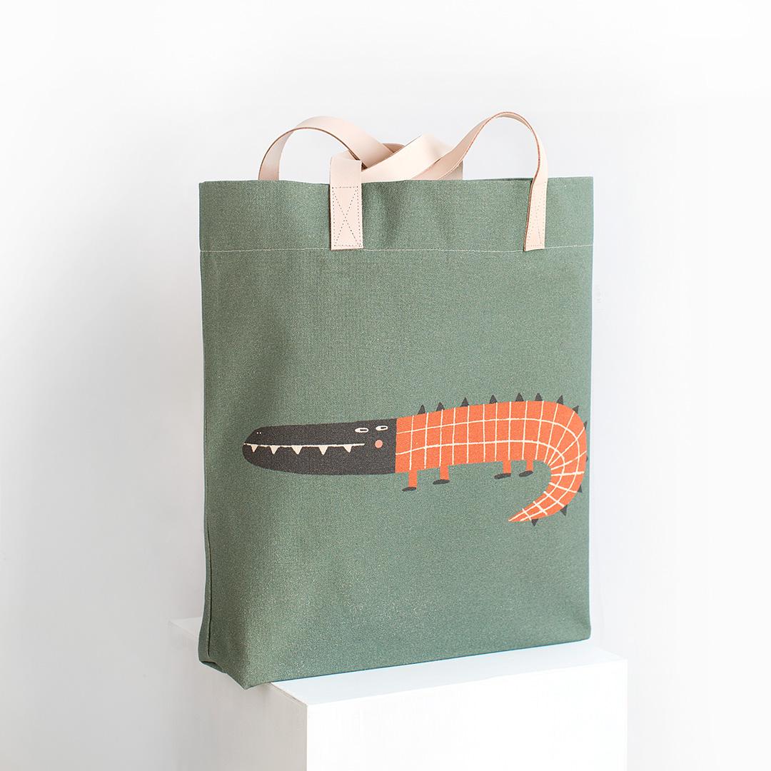 Bolsa cocodrilo Federico verde con asas en piel